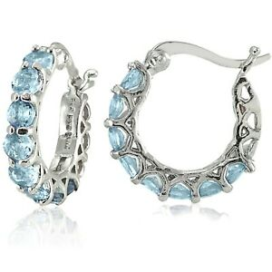 Blue-Topaz-Dangle-Drop-Hoop-925-Sterling-Silver-Earrings