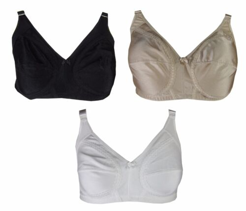Ladies Bra Lace NON WIRED Non padded Full Cup Black WHITE nude s177