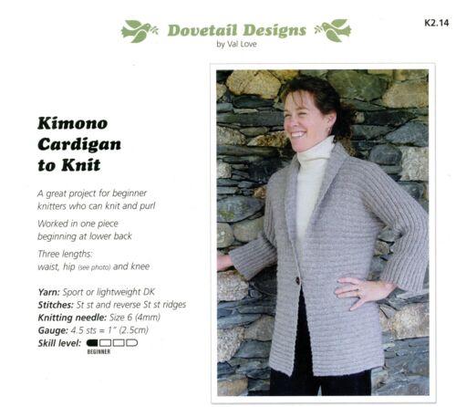 "32/"" Kimono Cardigan to Knit Dovetail Designs Knitting Pattern #K2.14 Easy 52/"""