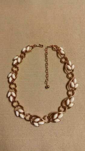 Vintage Trifari Gold-tone and White Leaf Necklace