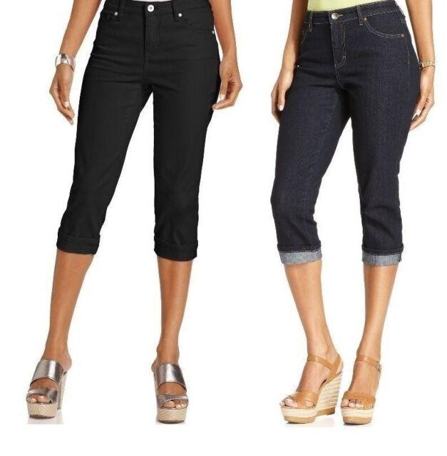 44ded09c79 Style Co Womens Denim Capri Tummy Control Mid Rise size 4 6 12 NEW ...