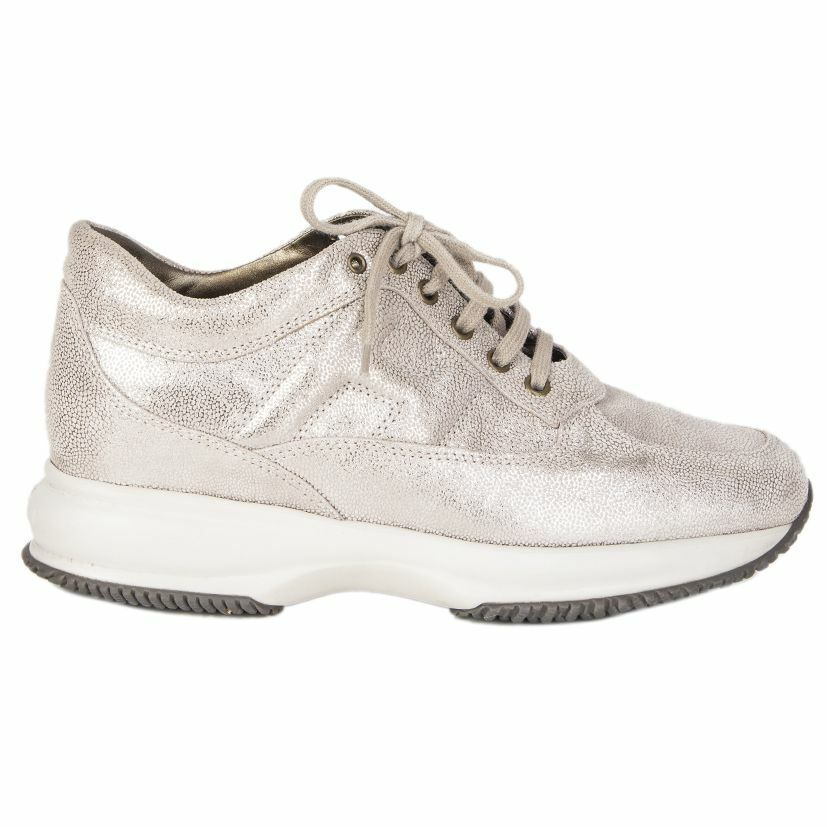 56902 auth HOGAN metallic beige & silver leather Platform Sneakers shoes 38.5