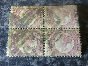 GB-QV-POSTAGE-STAMPS-SG48-49-1-2D-PLATE-10-BLOCK-OF-4-ROSE-FINE-USED