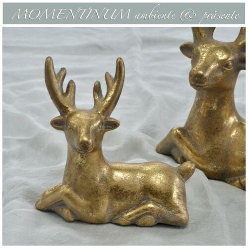 liegender HIRSCH 15,5 cm Keramik GOLD Antik-Look Wild Reh Wald Jagd Deko vintage
