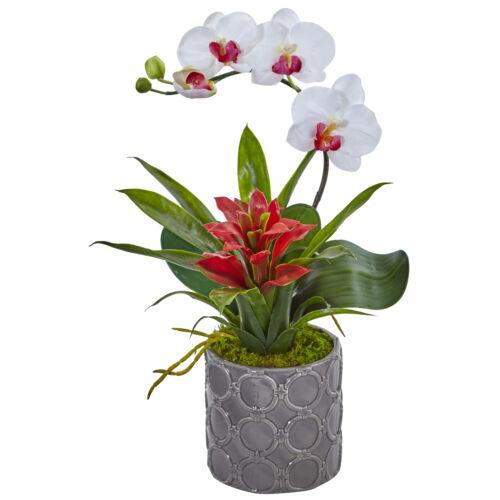 "Artificial 17/"" Mini Phalaenopsis Orchid /& Bromeliad Flowers Arrangement in Vase"