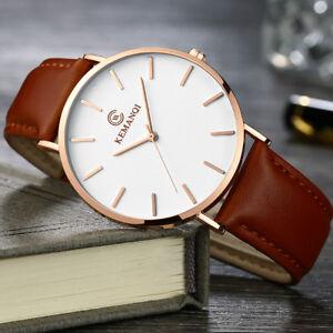Fashion-Leather-Band-Analog-Quartz-Round-Wrist-Business-men-039-s-watch-Simple-US