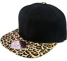 820be684641 ANIMAL PRINT SNAPBACK HAT CAP FLAT BILL CHEETAH PATTERN LEOPARD BLACK BLANK  NEW