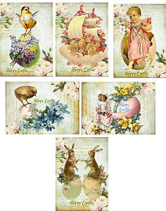 Vintage Easter 8 bunny rabbit antique pictures cards tags with 8 envelopes