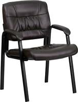 Flash Furniture Brown Leather Guest - Reception Chair with Black Frame Finish