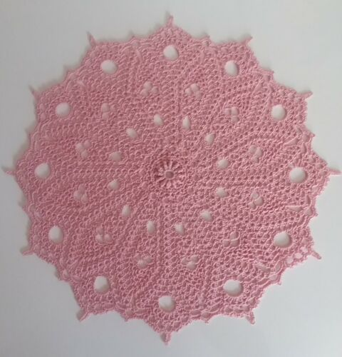 """10 1//2/"""" Crochet Thread Dimensional Doily in Country Rose Pink /""""Viennese/"""""""