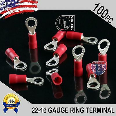 100 PACK 22-16 Gauge #8 Stud Insulated Vinyl Ring Terminals 100/% Tin Copper Core