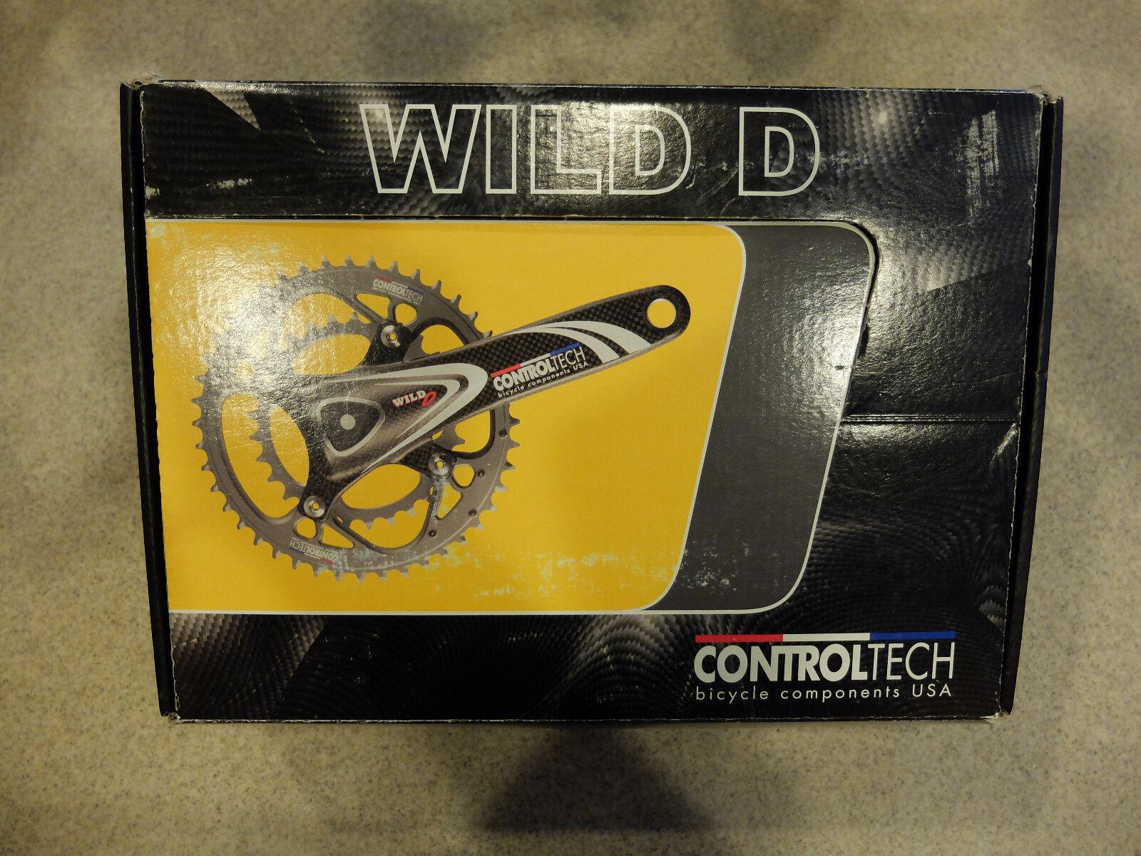 Control Tech Wild D 9 10-Speed Crankset with Decal, 175mm 38 x 24T, Cochebon blanco