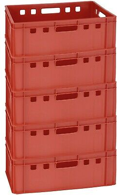 5 Werkstattkiste Lagerbox Stapelkiste Behälter E2 blau 60x40 cm neu Gastlando
