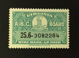 Virginia State Revenue - Wine Tax #W60 - Mint, Never Hinged (MNH) - VA