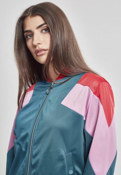 Urban Classics Damen 3-Tone Jacket Trainingsjacke jasper/firered/pink