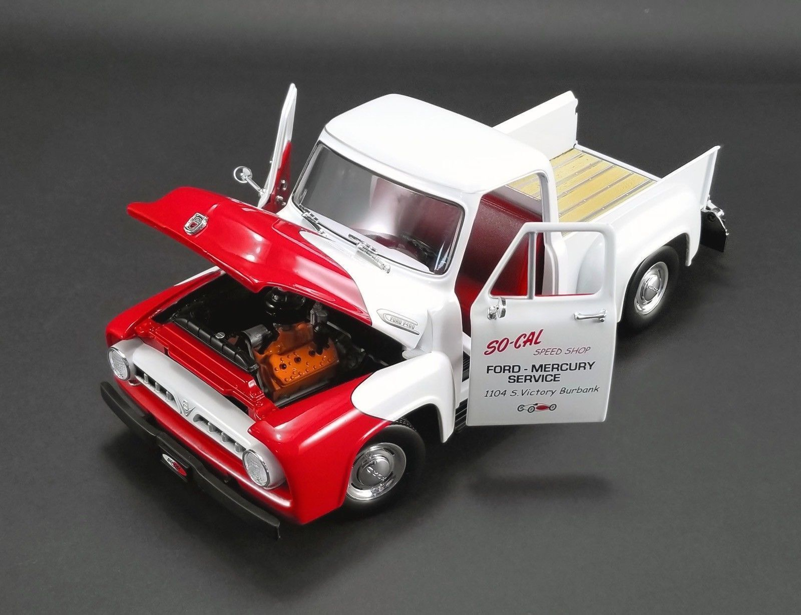 ACME 1953 FORD F-100 So Cal Speed Shop Push Camion Blanc & Rouge 1 18New
