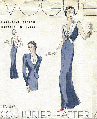 1939 VOGUE Vintage Sewing Pattern B34 EVENING DRESS & JACKET (1026R)