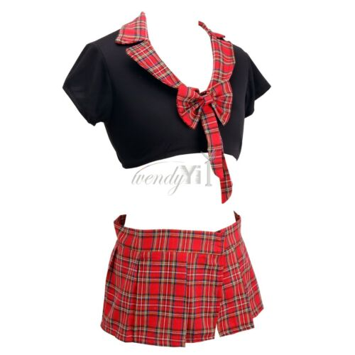 Students Costume Women School Girl Halloween Pom Top Skirts Fancy Dress Babydoll