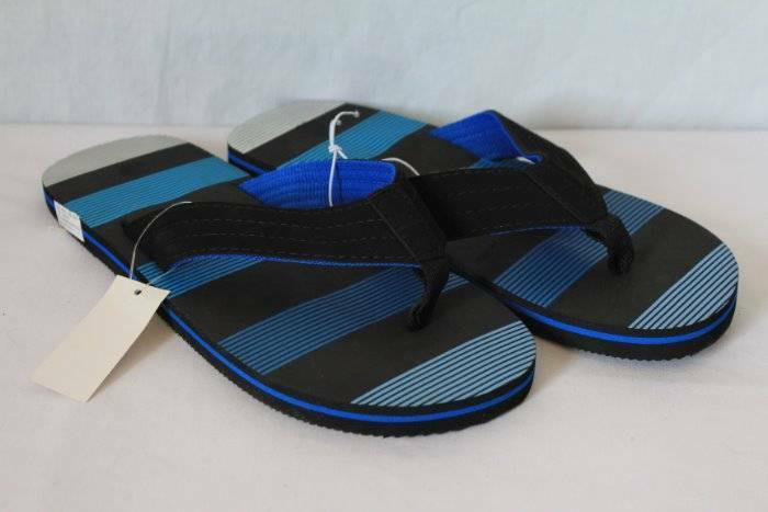 308b86fe2d43 NEW Mens Flip Flops Size Size Size Large 10 - 11 Black Blue Sandals Cloth  Straps Pool df5b7e