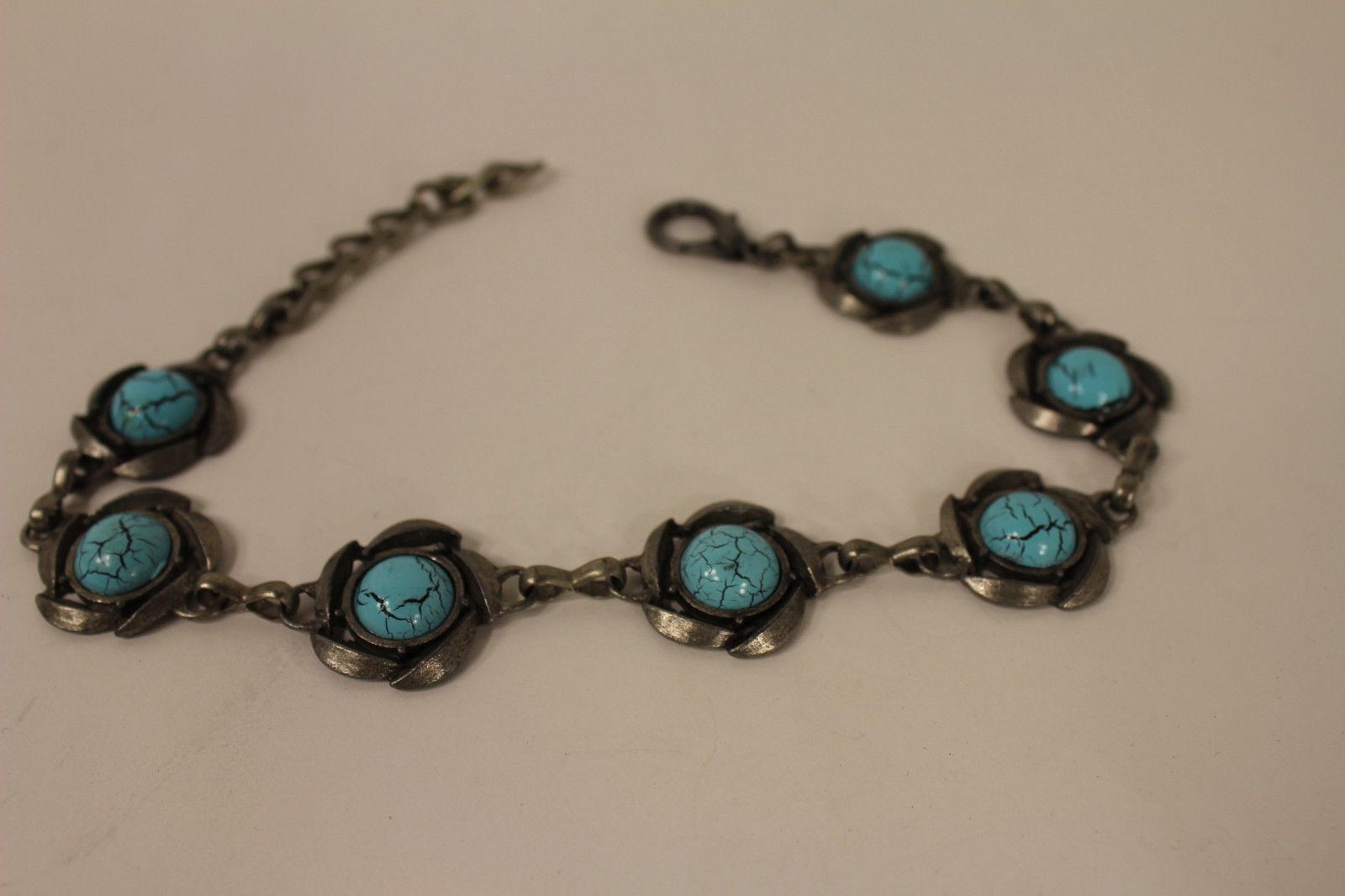 Women Silver Boot Chain Bracelet Ethnic Shoe Charm Bohemian Turquoise Blue Bead