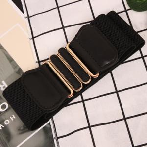 Women Wide Elastic Stretch Waist Belt Gold Bucket Black Belt Wide Waist Belt