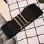 thumbnail 1 - Women Wide Elastic Stretch Waist Belt Gold Bucket Black Belt Wide Waist Belt