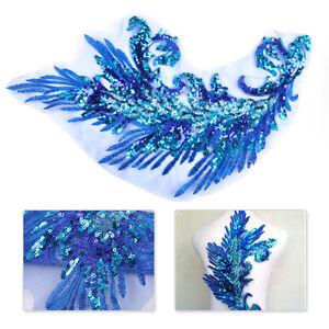 42cm-Pailletten-AufnAher-Blau-Gestickte-Patch-Pfauenfedern-Kleider-jeans-Deko