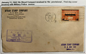 1943 Manila Philippines Japan Occupation First Day Cover FDC Military Censored