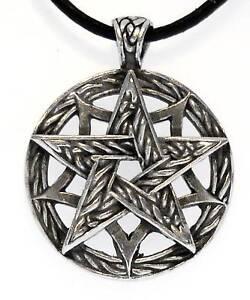 CELTIC-PENTAGRAM-PAGAN-Pewter-Pendant-Leather-Necklace