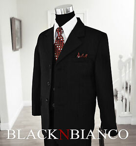 Boys Black Pinstripes Suit Dark Red Tie Tuxedo  2 3 4 5 6 7 8 10 12 14 16 18 20
