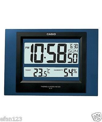 ID-16S-2D Blue Casio Digital Auto Calendar Thermo Hygrometer Wall Desk Clock 16S