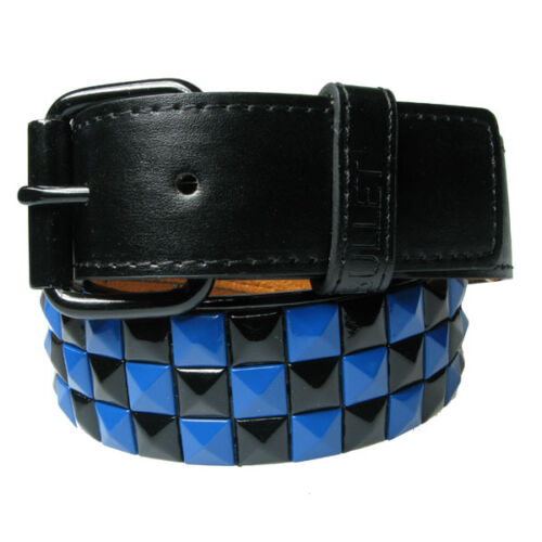 Three Row Pyramid Checkered Belt Mens Womens Studded Belts with Removable Buckle