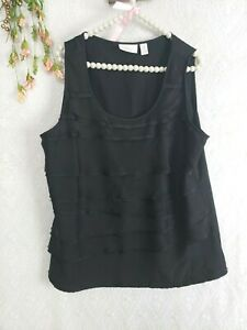 Chicos-3-Top-Black-Tank-top-sz-XL-1XWomens-Sleeveless-Tiered-Raw-Hem-blouse