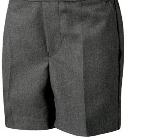 BOYS SCHOOL SHORTS ZIP+CLIP SCHOOL UNIFORM GREY 8//9-15//16  AND PLUS SIZE SHORTS