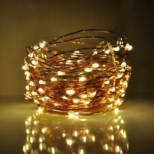 LED Fairy Lights- 33 Foot, 100 Micro LED, Warm White on Copper Wire With Plug