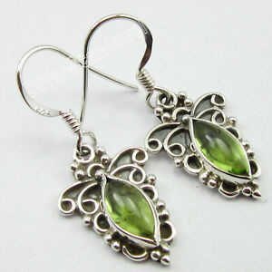 925-Solid-Sterling-Silver-Peridot-2-6-Ct-Dangle-Earrings-1-3-034-Wholesale-Gift