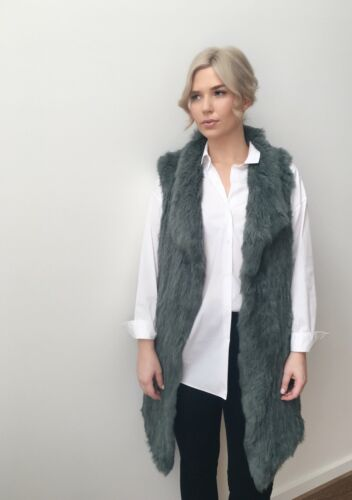 NEW STOCK AND GREAT LAYERING PIECE MOSS GREEN LUCY RABBIT FUR LONGLINE VEST