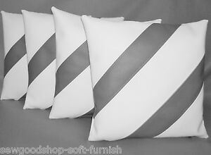 Image Is Loading 4 White Amp Grey Striped Faux Leather Cushion