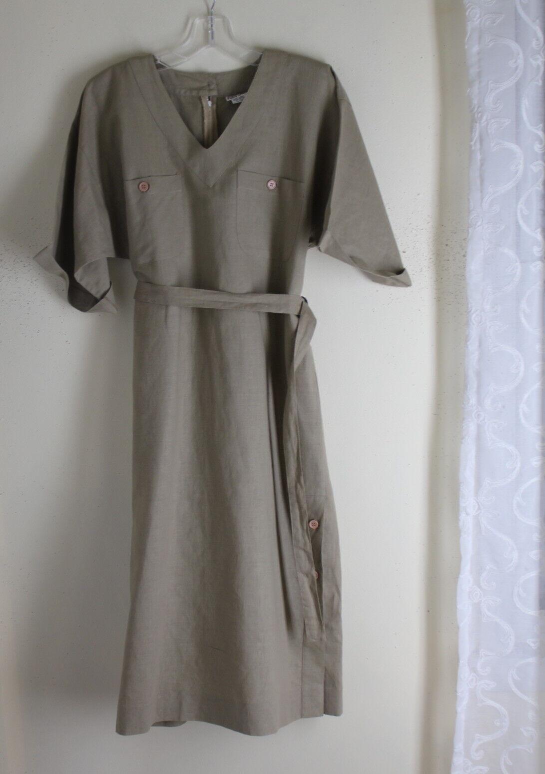 Frances Henaghan 8 M Linen-Cotton Minimalist 80s VTG Artsy Lagenlook Shirt Dress