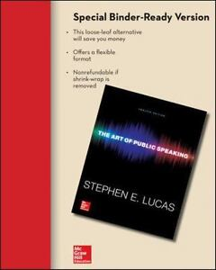 Looseleaf For The Art Of Public Speaking 12e By Stephen E Lucas