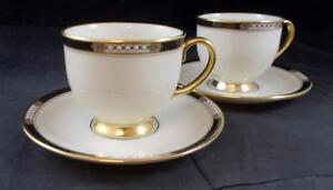 Lenox-HANCOCK-2-Footed-Cup-amp-Saucer-Sets-GREAT-CONDITION