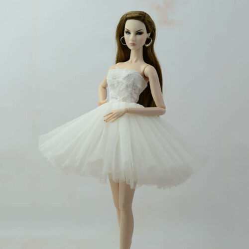 White Short Ballet Dress For 11.5inch Doll Evening Dresses Clothes For 1//6 Doll