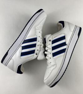 Mens ADIDAS NEO White Low Top Blue Stripe Classic Retro Sneaker ...