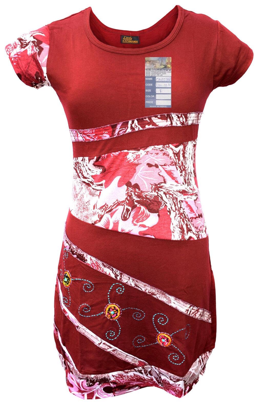 Handgemachte Baumwolle Hippie Natürlich Kathmandu Boho Retro Sommer Hell Kleid