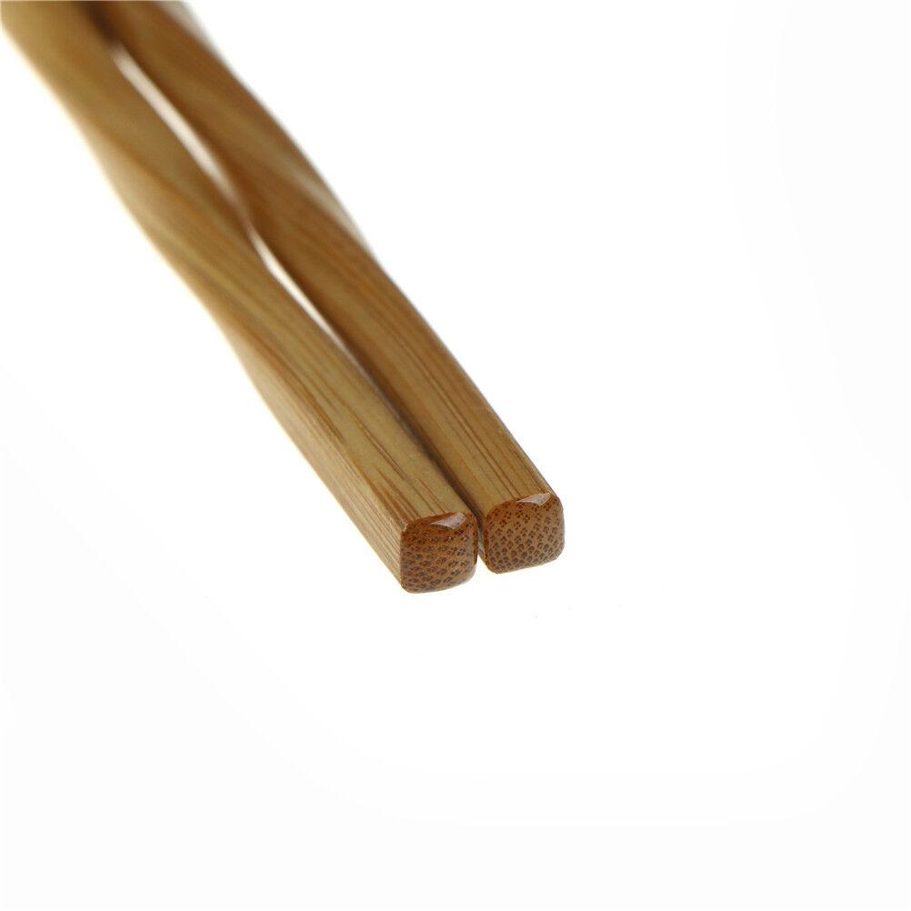 1 pair Natural Wavy Wood Chopsticks Chinese Chop Sticks Reusable Food Sticks RG