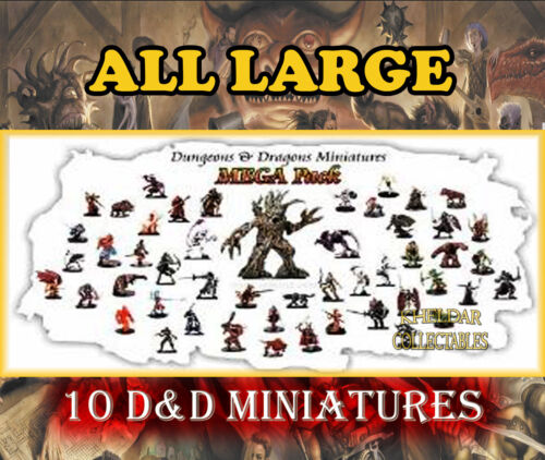 10 LARGE Miniatures PACK LOT Dungeons & Dragons Pathfinder, D&D Figures, RPG