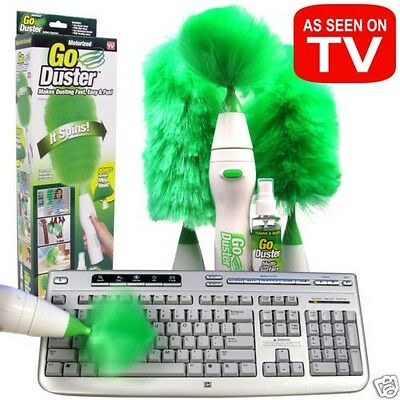 NIB Go Duster Goduster Motorized Brush Spins Dust away EXCELLENT QUALITY