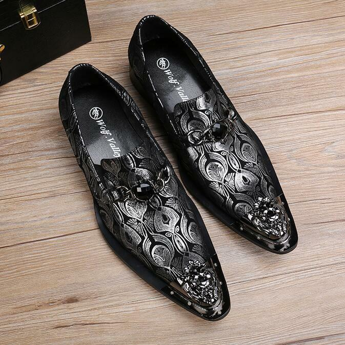 Men Metal Head Head Head Pointy Toe Leather shoes Wingtip Dress casual shoes Business UK10 564baf
