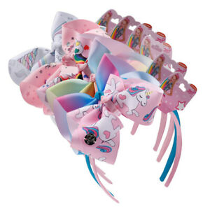 JOJO-Siwa-Kids-Bows-Headband-Unicorn-Girl-039-s-Hair-Accessories-6-034-jojo-Hair-Bow