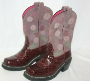 Ariat-Women-s-Purple-Snake-Print-Floral-Suede-Western-Boots-Size-5-5-B-16263